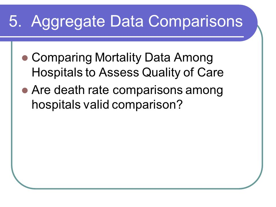 5. Aggregate Data Comparisons