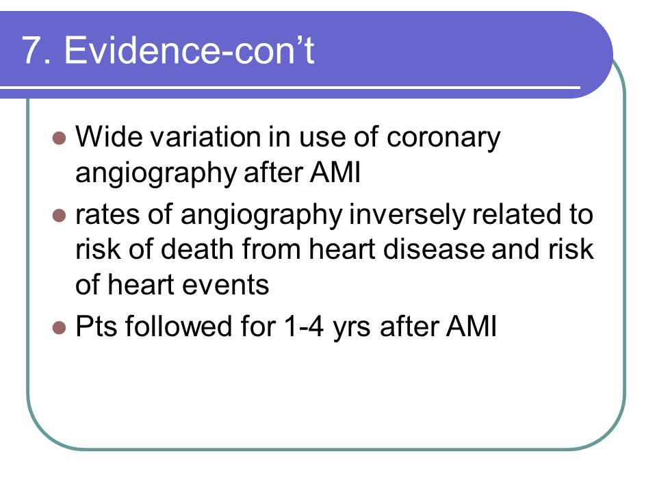 7. Evidence-con't Wide variation in use of coronary angiography after AMI.