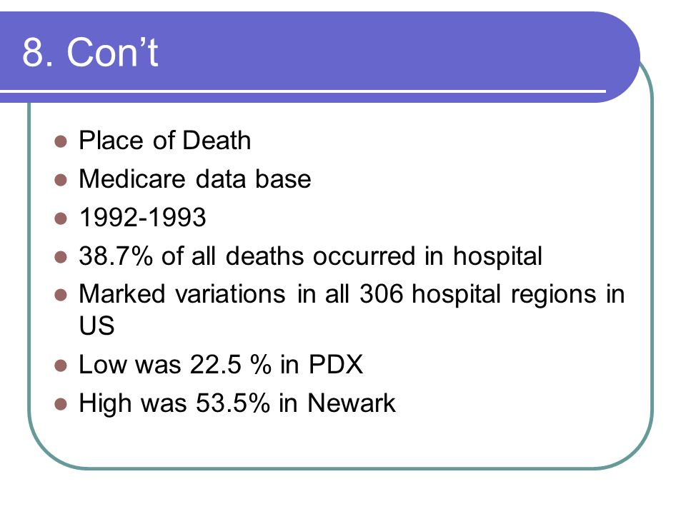 8. Con't Place of Death Medicare data base 1992-1993