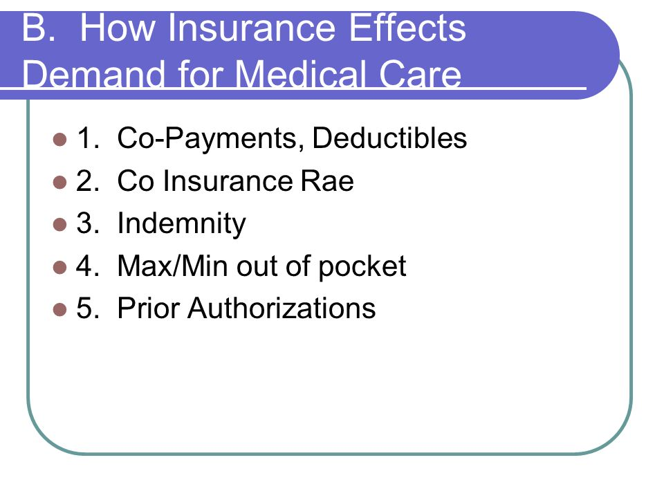 B. How Insurance Effects Demand for Medical Care