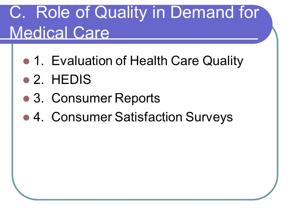 C. Role of Quality in Demand for Medical Care