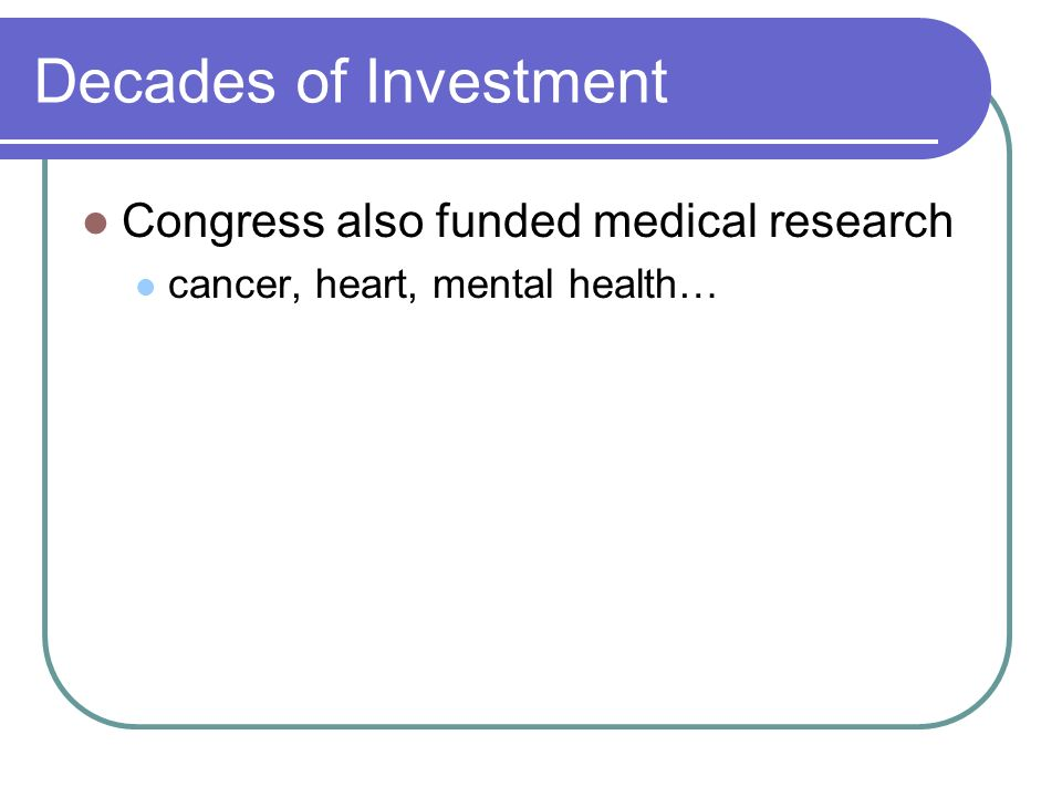 Decades of Investment Congress also funded medical research