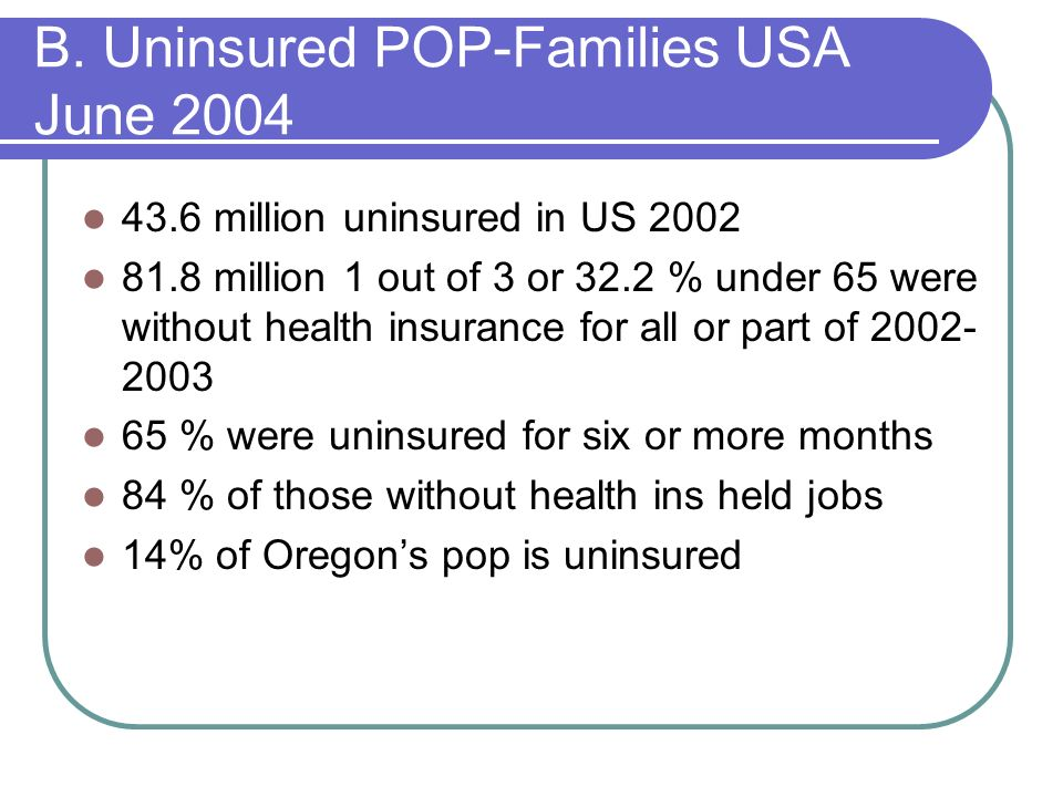 B. Uninsured POP-Families USA June 2004