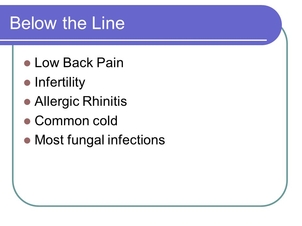 Below the Line Low Back Pain Infertility Allergic Rhinitis Common cold