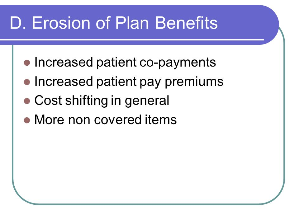 D. Erosion of Plan Benefits