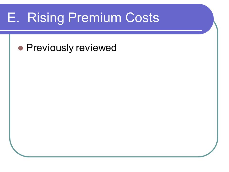 E. Rising Premium Costs Previously reviewed
