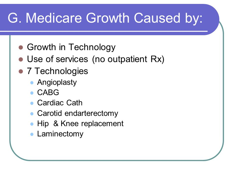 G. Medicare Growth Caused by: