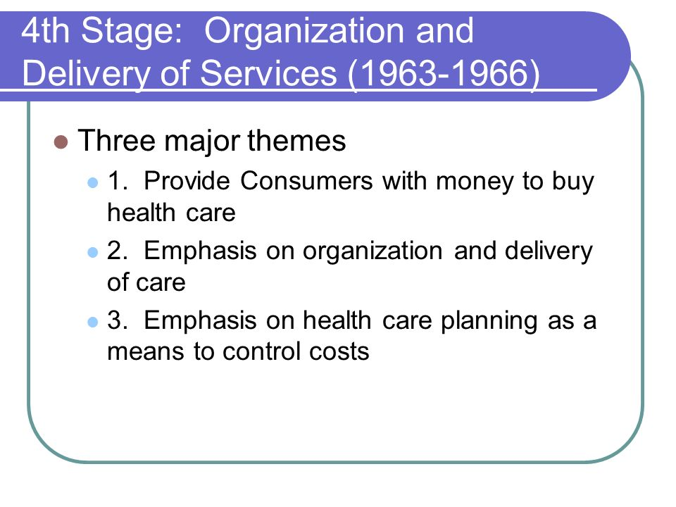4th Stage: Organization and Delivery of Services (1963-1966)