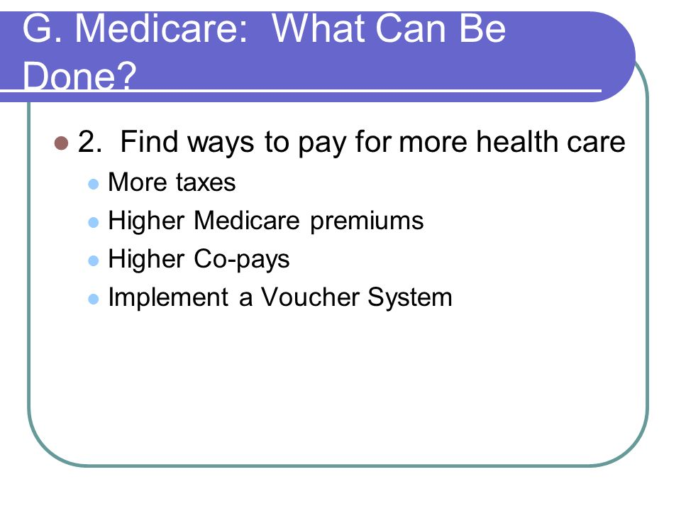 G. Medicare: What Can Be Done