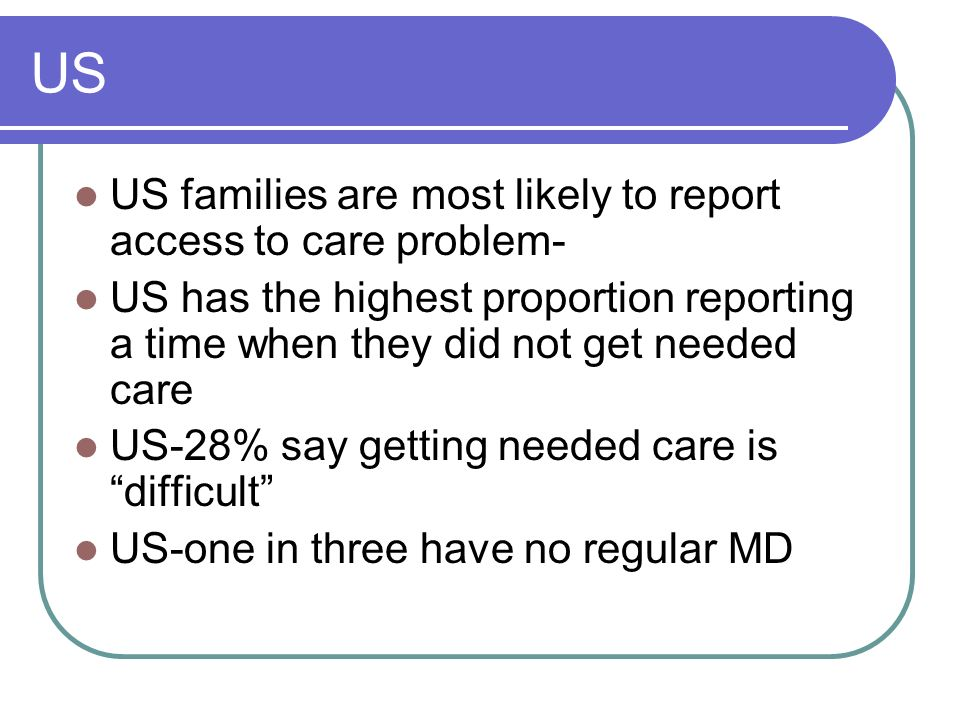US US families are most likely to report access to care problem-