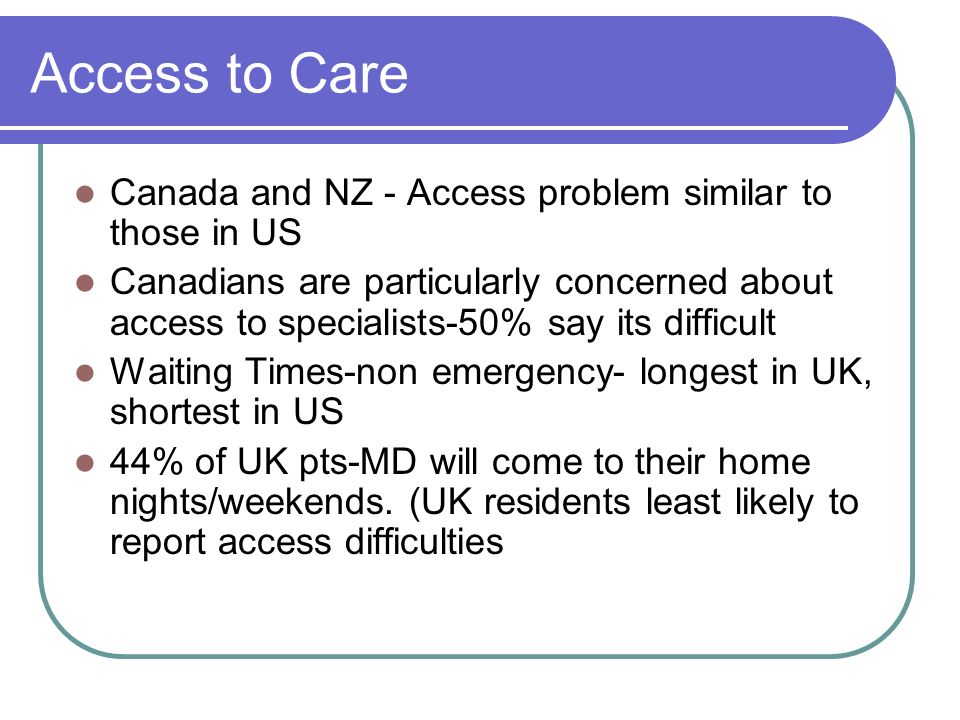 Access to Care Canada and NZ - Access problem similar to those in US