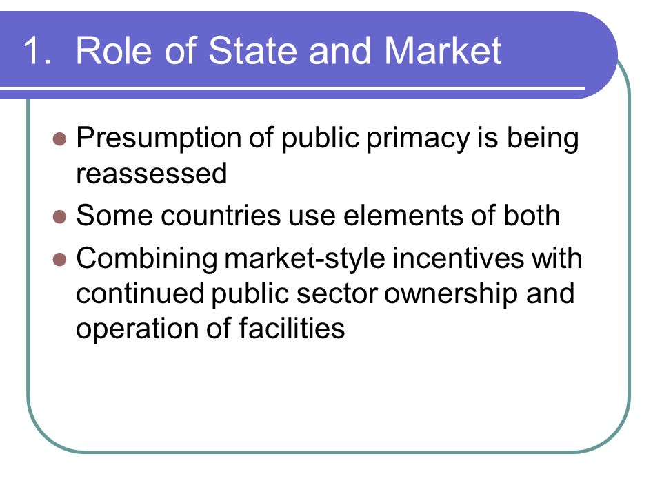 1. Role of State and Market