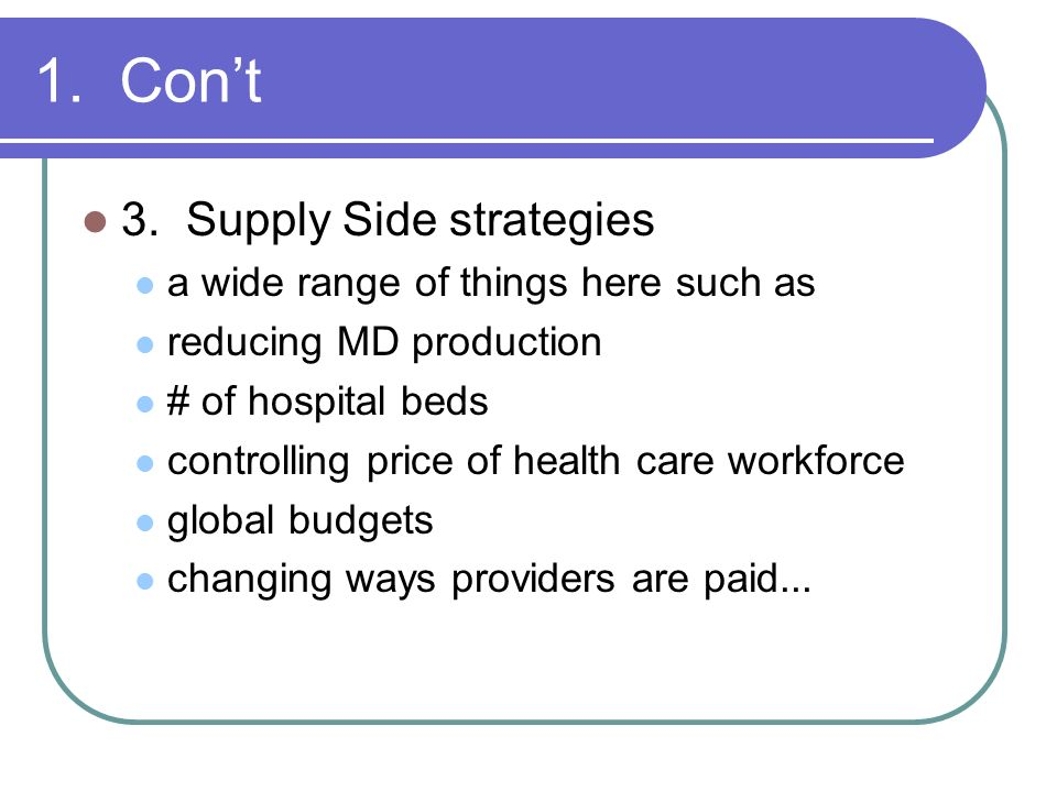 1. Con't 3. Supply Side strategies a wide range of things here such as