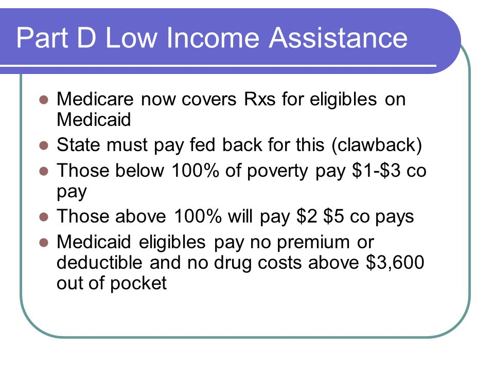 Part D Low Income Assistance
