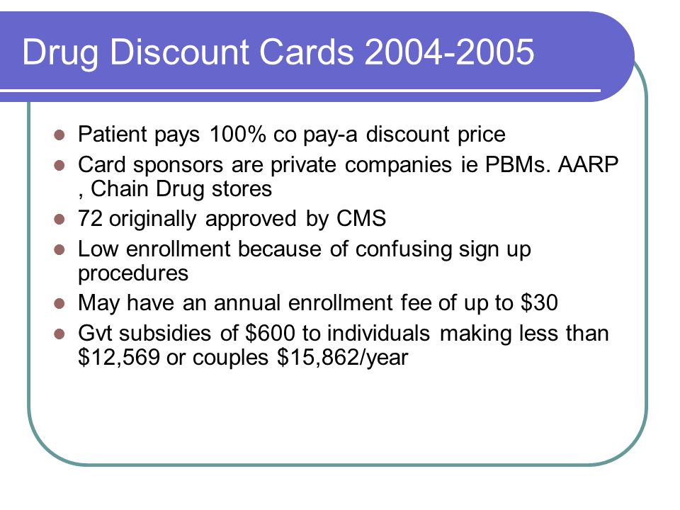 Drug Discount Cards 2004-2005 Patient pays 100% co pay-a discount price. Card sponsors are private companies ie PBMs. AARP , Chain Drug stores.
