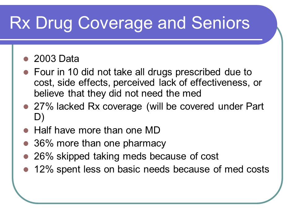 Rx Drug Coverage and Seniors