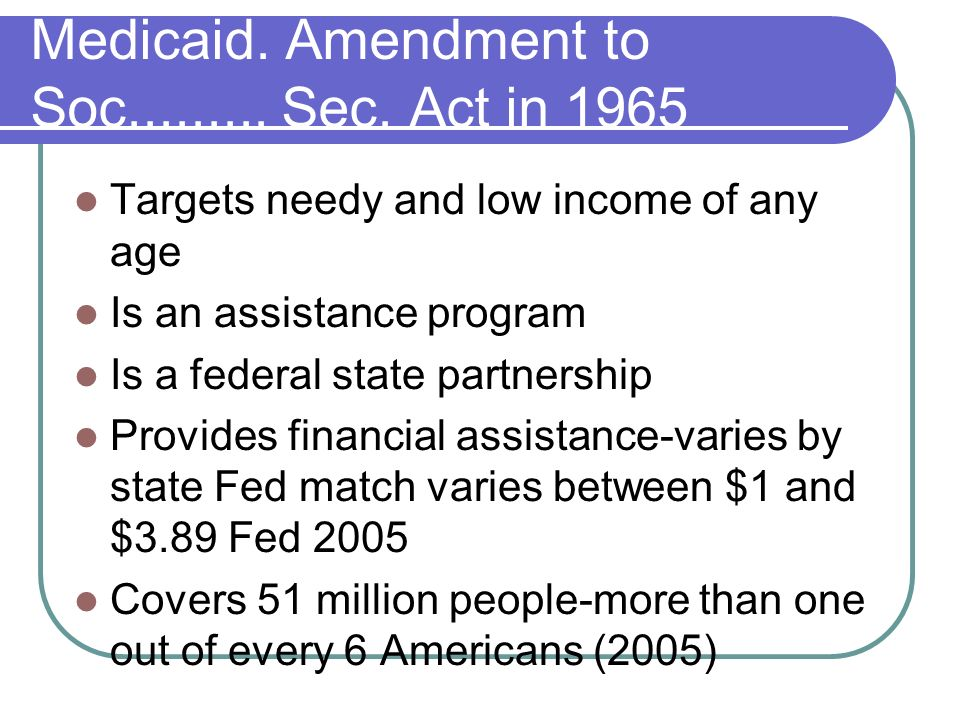 Medicaid. Amendment to Soc......... Sec. Act in 1965