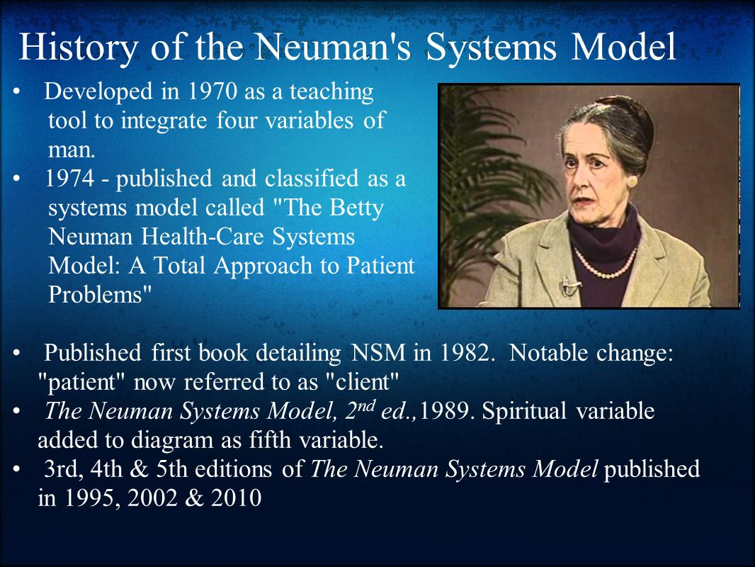 limitation of betty neuman theory The neuman systems nursing education model (nsnem) is a middle range nursing education theory derived from, and consistent with the neuman systems model (nsm) the purpose of this research paper is to initiate preliminary research based the basic.