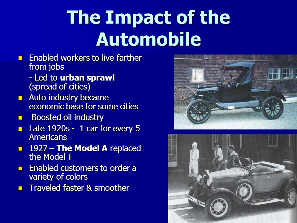 impact of the invention of automobiles essay Automobiles affect on society no other invention has had such a profound impact on almost every aspect of our society essay about automobiles.