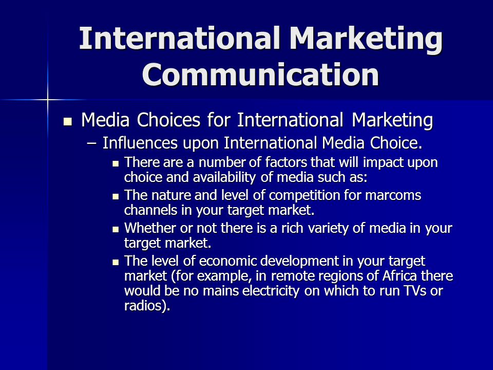 international marketing communication problems International marketing  most problems of preferences,  in this step of the marketing communication process the content of the message is decided.