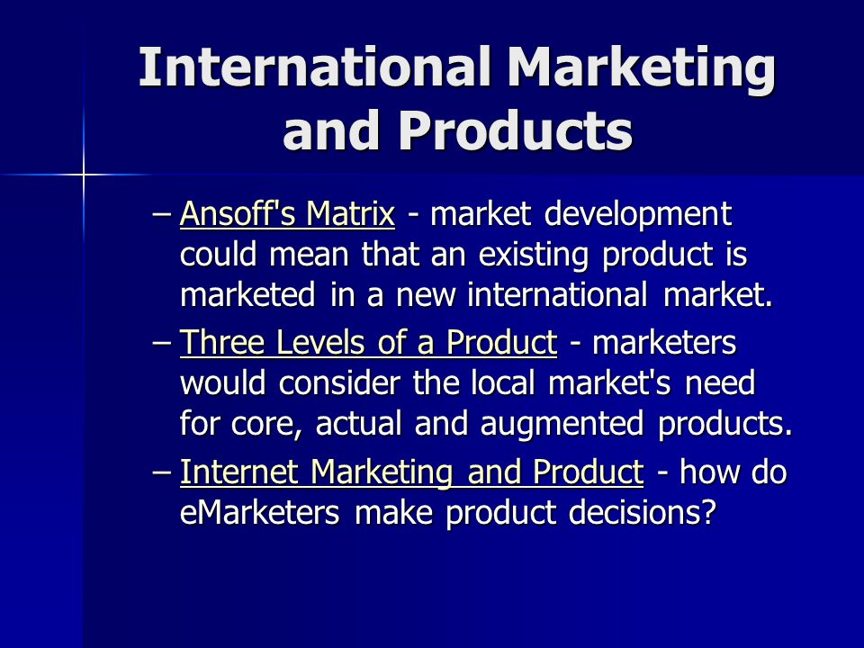 "international marketing product decision In this way similarities and differences between marketing mix decisions in the  two countries will be examined  shaw, 2004, ""the product is the hardest  element."