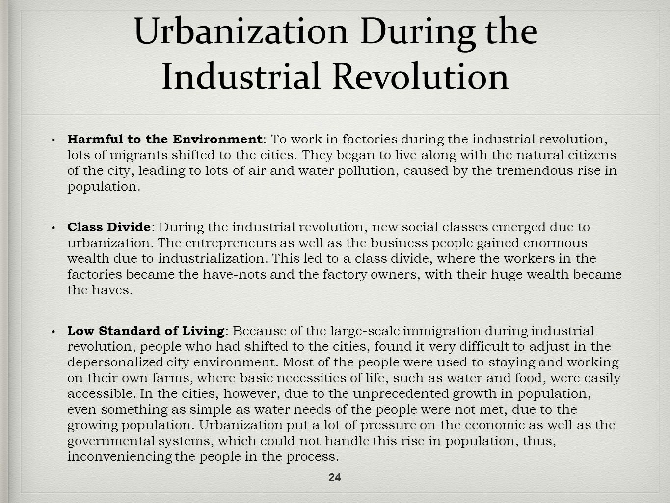 an analysis of the benefits brought by the industrial revolution to society Summarize the changes that the industrial revolution brought to manufacturing wage workers formed their own society in industrial cities and mill villages.