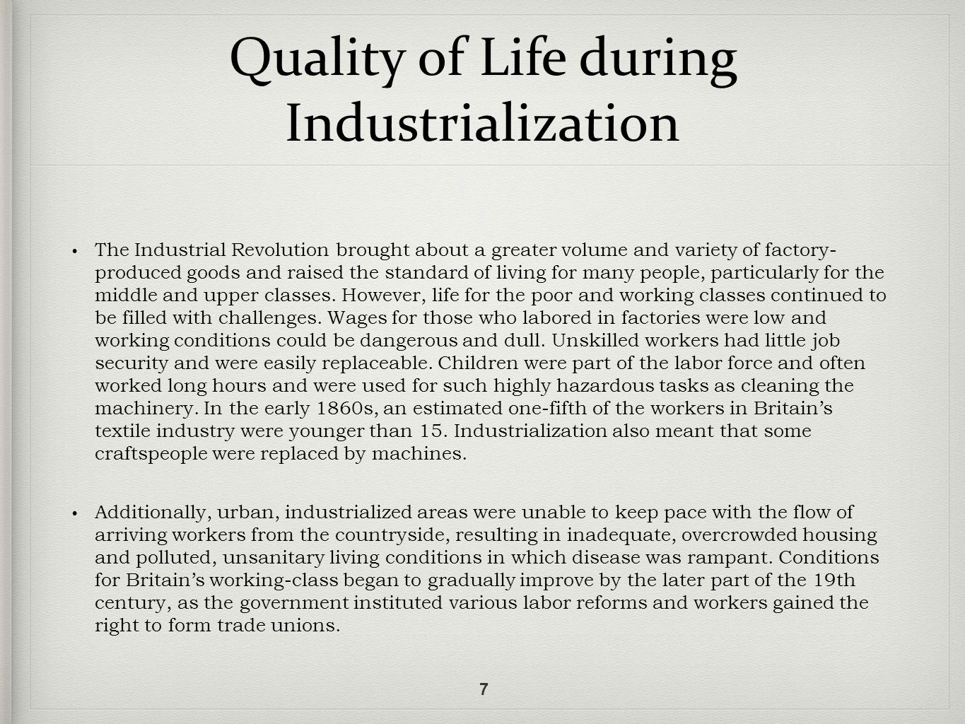 life during the industrial revelotion