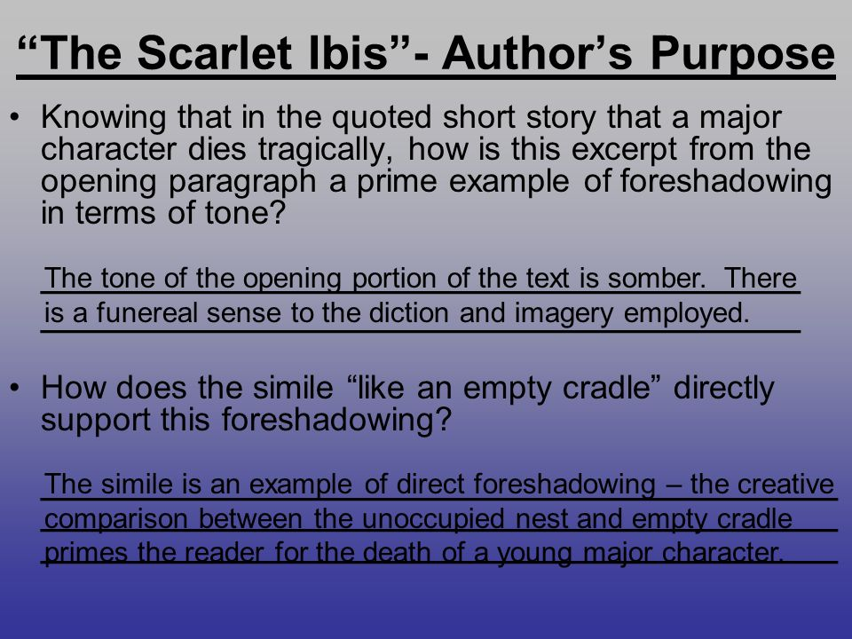 "imagery and diction in the scarlet ibis Figurative language and ""the scarlet ibis"" english i flash review • a short story is a piece of writing that is shorter than a novel  this is called imagery ."
