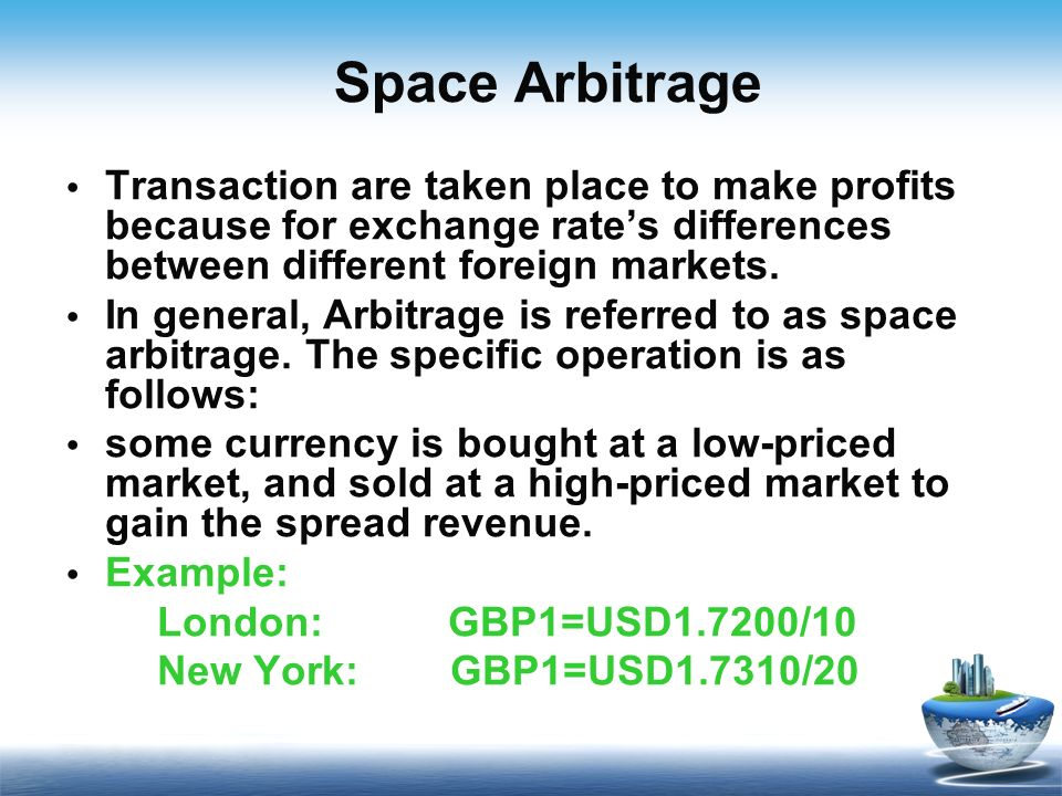 arbitrage foreign exchange market and rate Currency arbitrage involves the exploitation of the differences in quotes rather than movements in the exchange rates of the currencies in the currency pair profiting from arbitrage is not only for market makers interest rate arbitrage strategy.