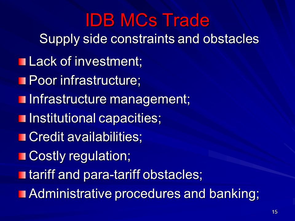 IDB MCs Trade Supply side constraints and obstacles