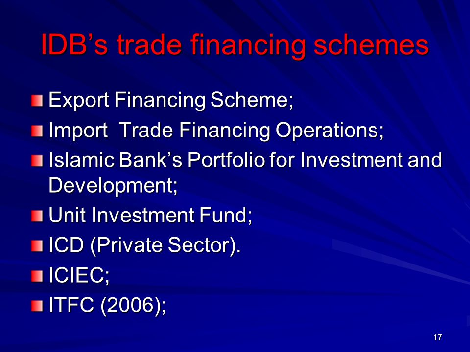 IDB's trade financing schemes