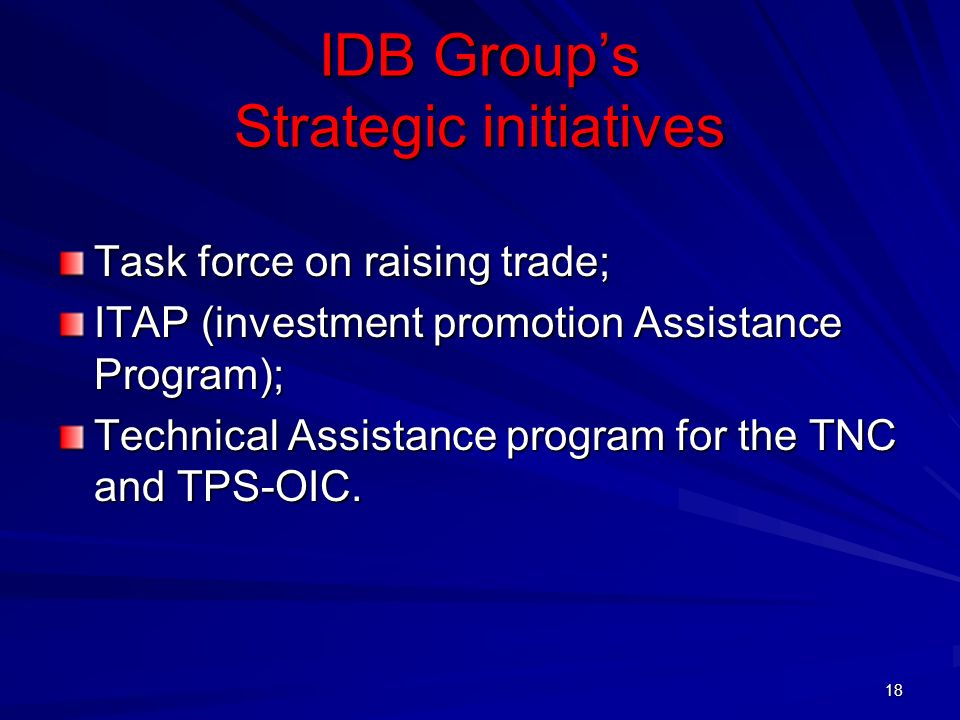 IDB Group's Strategic initiatives