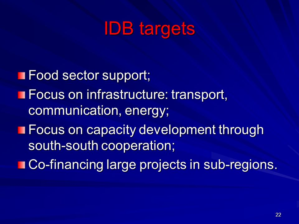 IDB targets Food sector support;
