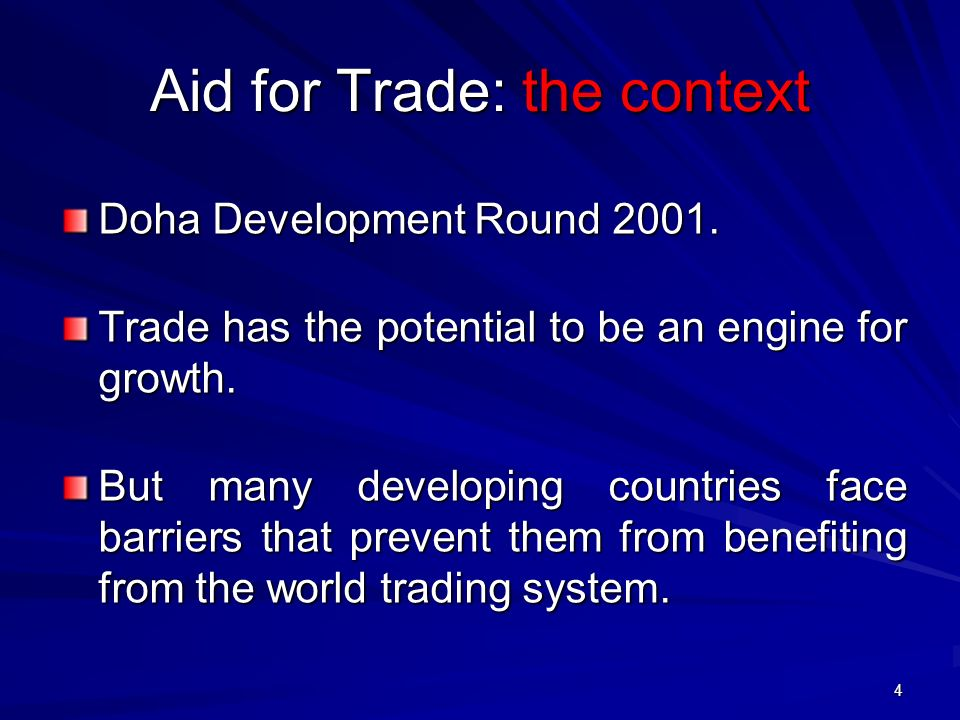 Aid for Trade: the context