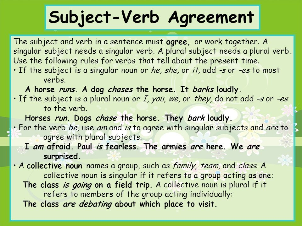 Subject And Verb Agreement With Collective Nouns Mandegarfo