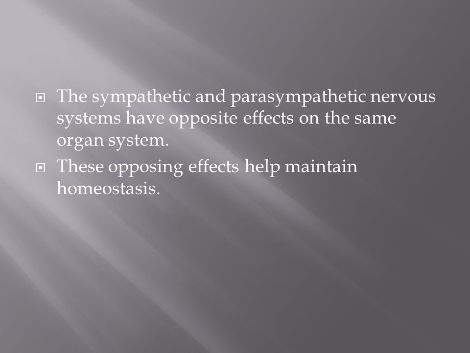 The sympathetic and parasympathetic nervous systems have opposite effects on the same organ system.