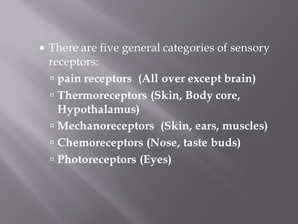 There are five general categories of sensory receptors: