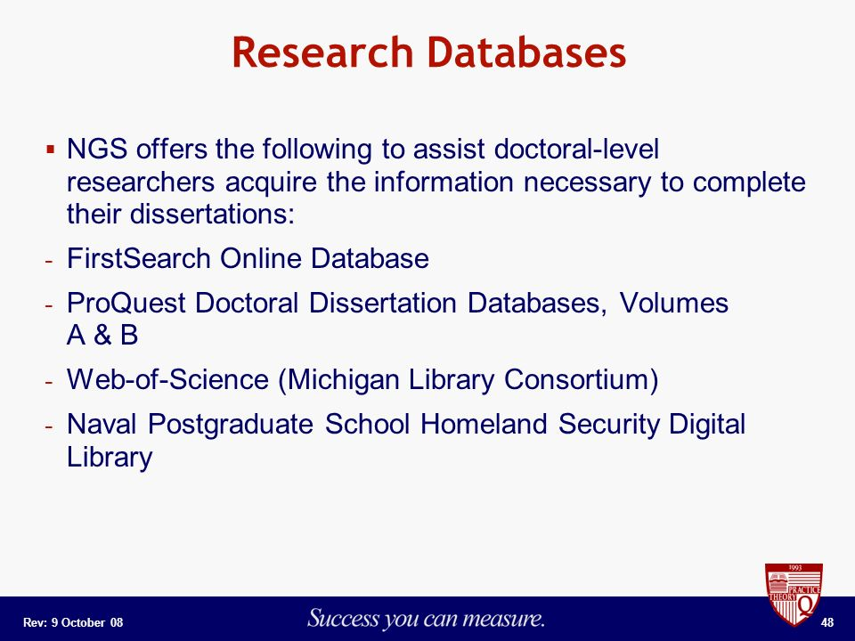 u michigan dissertation database Proquest llc is an ann arbor, michigan-based global information-content and technology company, founded in 1938 as university microfilms by eugene b power proquest provides applications and products for libraries [1.
