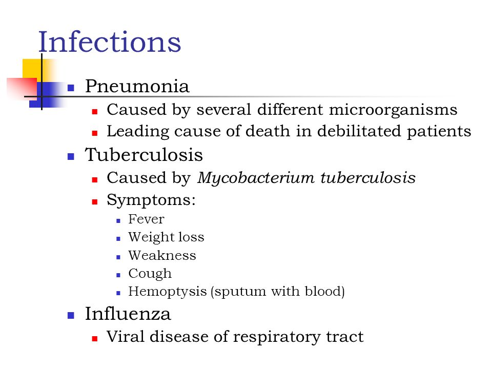 Infections Pneumonia Tuberculosis Influenza