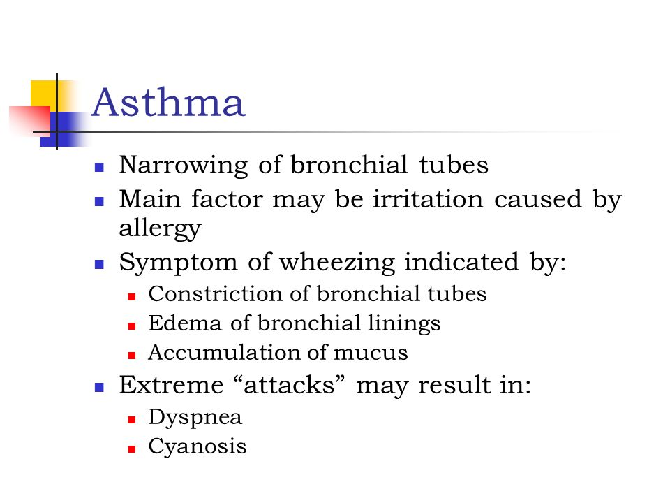 Asthma Narrowing of bronchial tubes