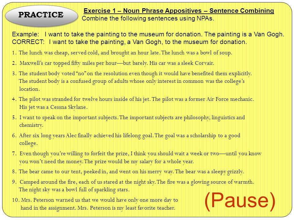 sentence combining exercises with answers pdf