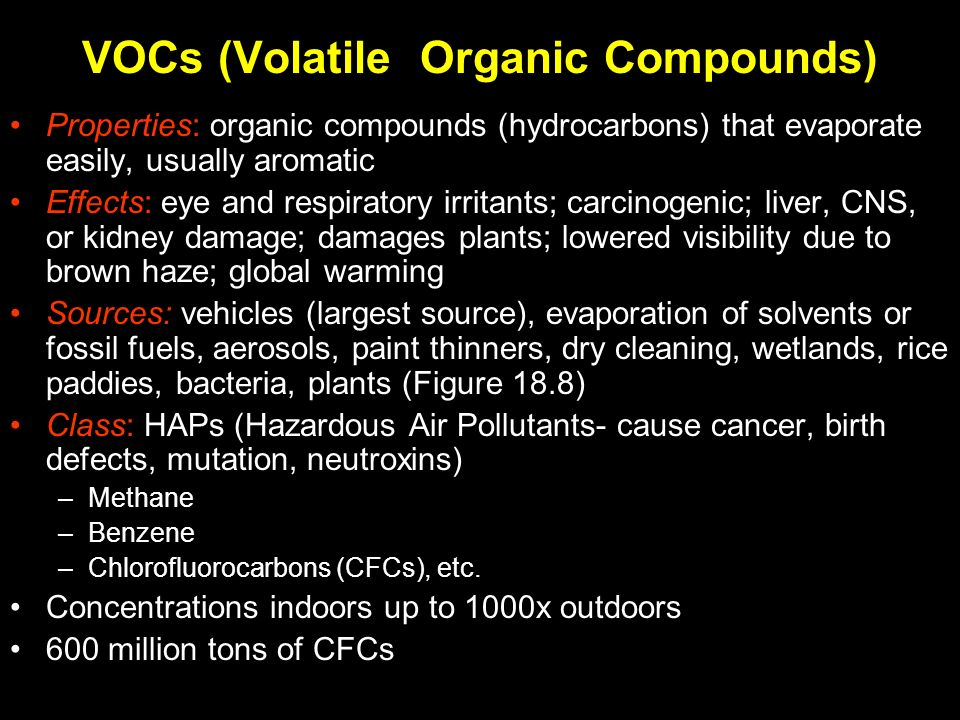the effects of volatile organic compounds Health effects of exposure to volatile organic compounds vocs are a class of chemicals that are volatile (evaporate easily) and are organic.