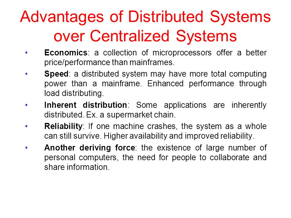 disadvantage centralized distribution The distribution of data and applications has potential advantages over traditional centralized database systems unfortunately, there are also disadvantages in this section we review the advantages and disadvantages of ddbms.