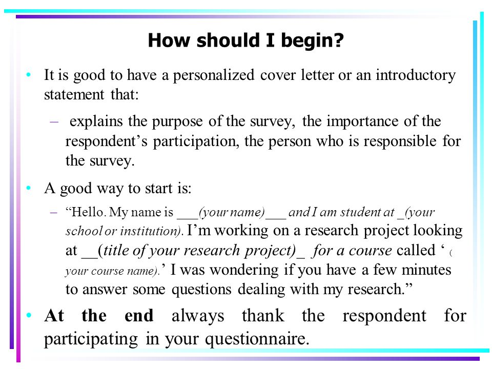 good way to start a cover letter - business and management research ppt video online download