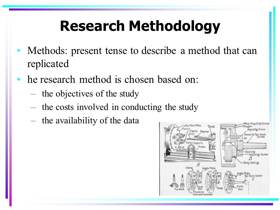 Research Methodology Methods: present tense to describe a method that can replicated. he research method is chosen based on: