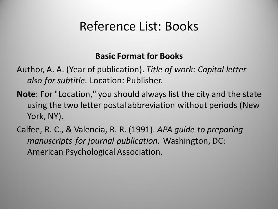 Reference List Books Basic Format for Books