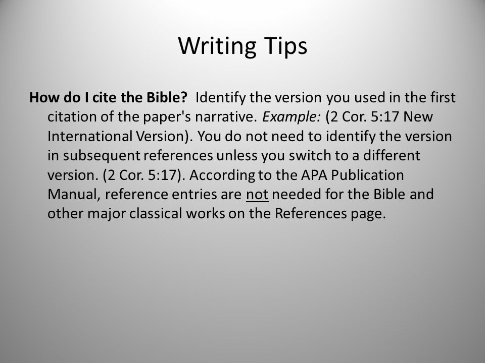 writing in the apa style ppt