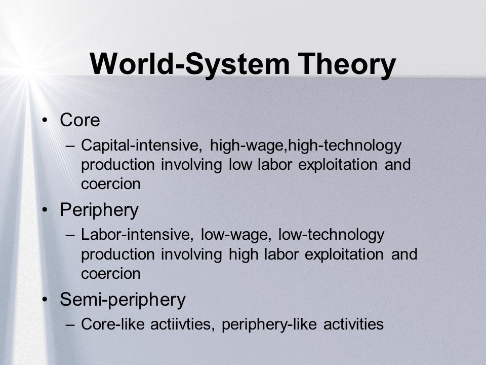 World-System Theory Core Periphery Semi-periphery