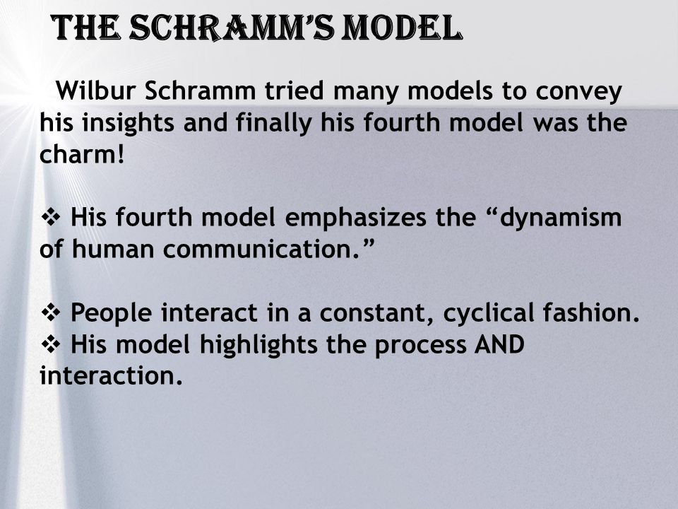 The schramm's Model Wilbur Schramm tried many models to convey his insights and finally his fourth model was the charm!