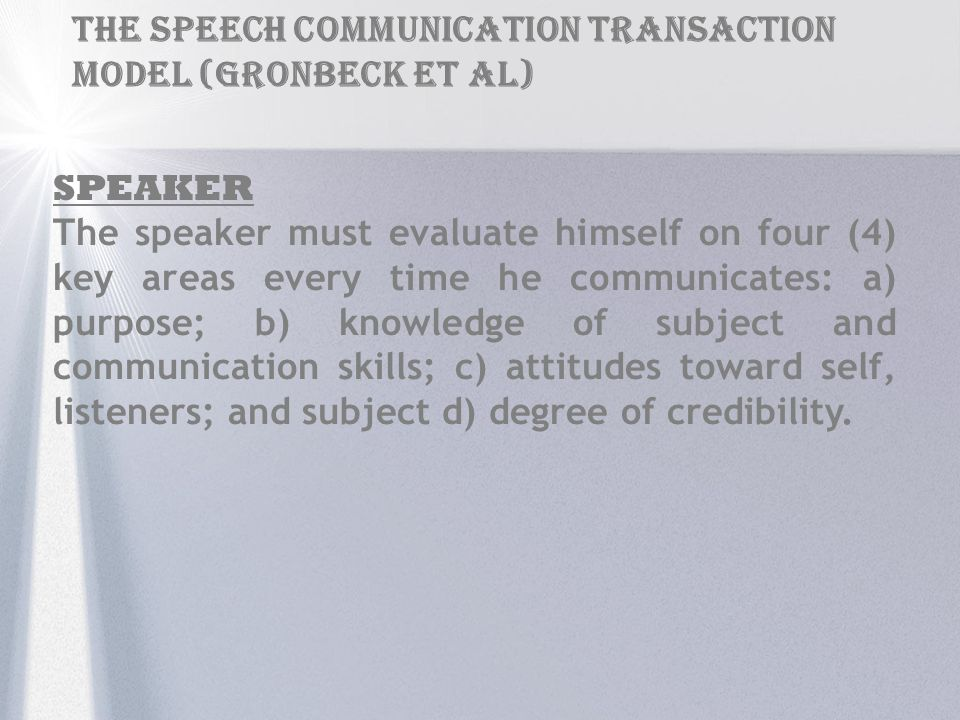 THE SPEECH COMMUNICATION TRANSACTION Model (Gronbeck et al)